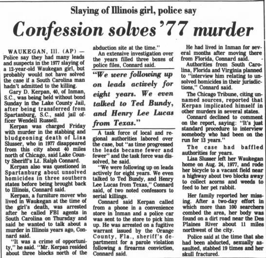 Confession - Slaying of Illinois girl, police say Confession...