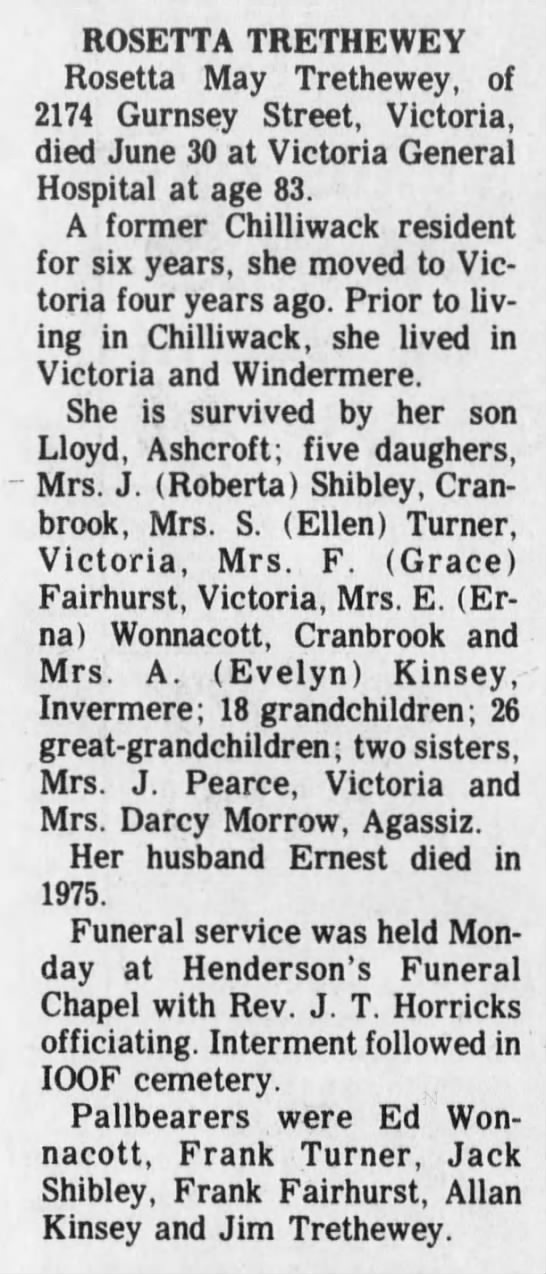 Obituary - ROSETTA TRETHEWEY Rosetta May Trethewey, of...