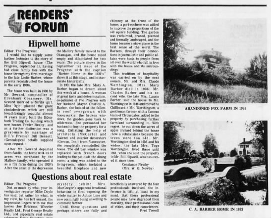 Letter to the Editor giving details of the Barber family farm. - Hipwell home Editor, The Progress: I would like...
