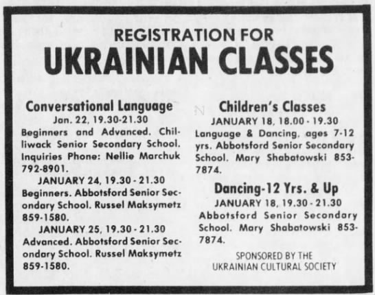 - REGISTRATION FOR UKRAINIAN CLASSES...