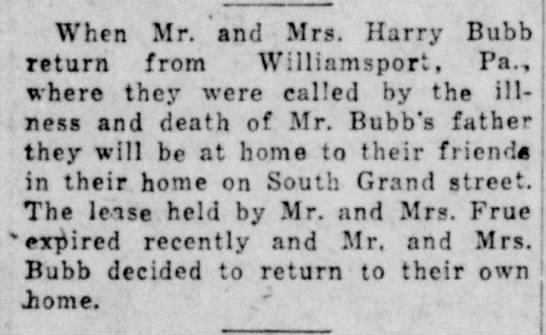 NB bubb death - When Mr. and Mrs. Harry Bubb return from...