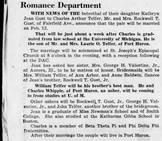 Parents of Dr. Telfe - Mom's Orthopedic doctor - Romance Department WITH NEWS OF THE betrothal...