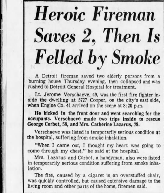 1972 january - firemen saves 2 then overcome by smoke - Heroic Fireman Saves 2, Then Is Felled by Smoke...