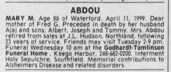 obit - ABDOU MARY M Aoe 88 of Waterford Anrli II 1909...