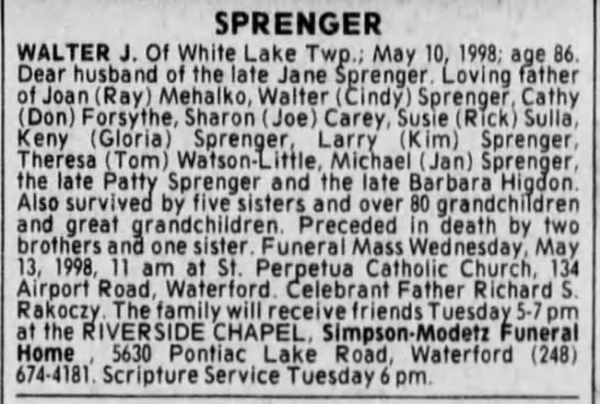 - SPRENGER WALTER J. Of White Lake Twp.; May 10,...