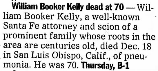 William Booker Kelly dead at 70 -