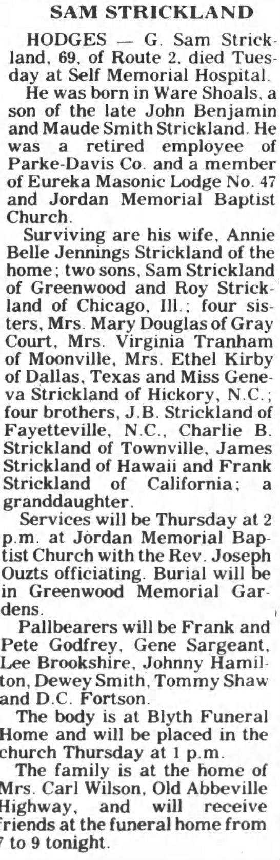 Sam Strickland obituary -