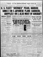 Newspaper headlines from June 7, 1942, say U.S. fleet avenged Pearl Harbor during Battle of Midway
