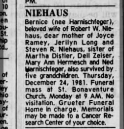 Niehaus, Bernice death notice.  Cincinnati Enquirer 26 December 1981 Saturday Page 19