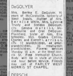 Mrs. Bertha E. DeGolyer's obituary