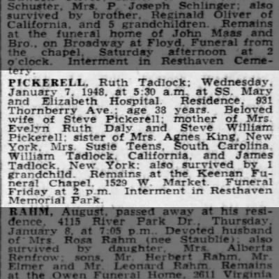 1948-Mrs. Ruth Tadlock Pickerell-death notice