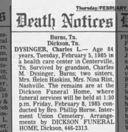 Charles Levi Dysinger - Obituary