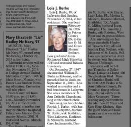 2014 Lois J Burke obit