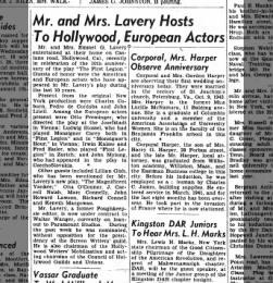 Lavery Wanger CHGU etc 9 Oct 1944 Poughkeepsie, NY