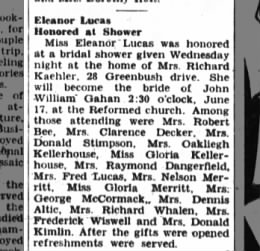 Eleanor Lucas bridal shower, 18 May 1951