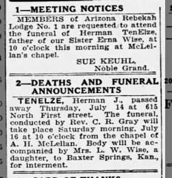 Herman J Tenelze obituary/death notice