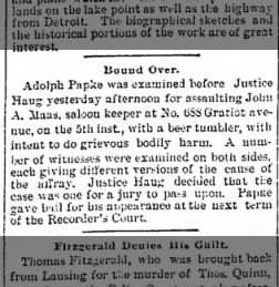 Detroit Free Press July 21, 1886 Adolph Papke - Bound Over