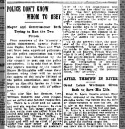 Detroit Free Press May 3, 1908 Policeman Papke - Police don't know whom to obey