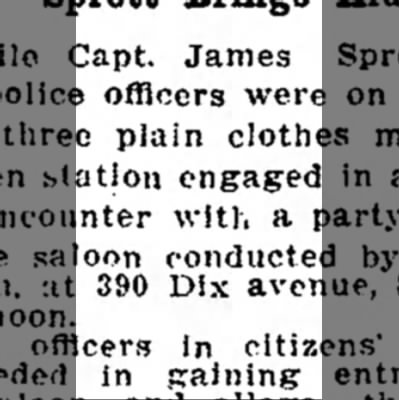 fight in bar weschs place 27 dec 1909 - Capt. James officers were plain clothes station...