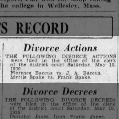 Divorce - Florence vs John A. Baccus 1930