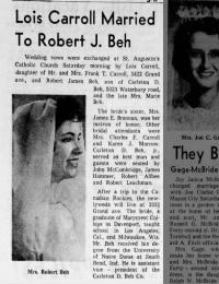 Lois Carroll Married To Robert J. Beh