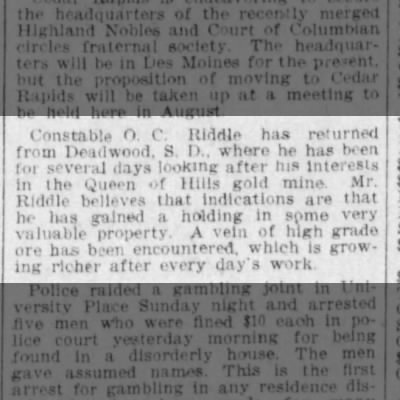O C Riddle 10 May 1904 The Des Moines Register