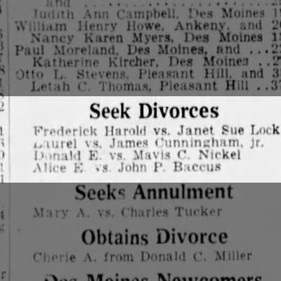 Divorce - Alice E.  vs John P. Baccus