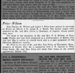 Lester and Thelma Price's Wedding Announcement, 3/13/1932