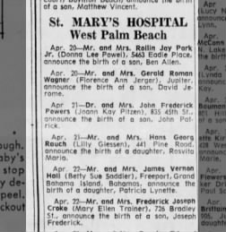 Birth of Joseph Frederick Croke, Apr 22, 1963, The Palm Beach Post, 9 May 1963, Thursday, page 9