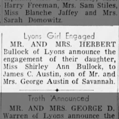 Shirley Ann Bullock engagement 1953