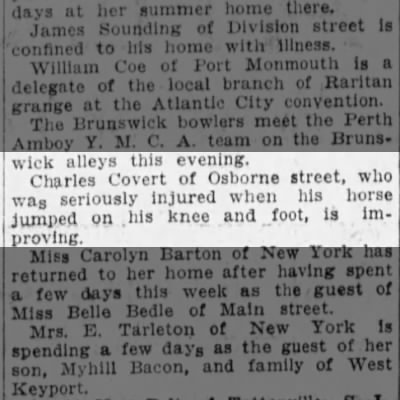 Charles Covert injured by horse 1915