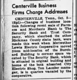 Centerville Business - Banks Absorbed
