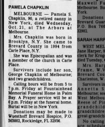 Pamela Chapklin dies at age 90.  Died in FL burial in NY