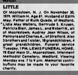 William H. Little obituary.  Husband of Edith May Bass Little.