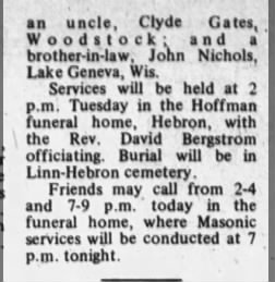 Clarence Blunk Obit  pg 2 from the Daily  sentinel, Woodstock, Illinois  Sept 29, 1968