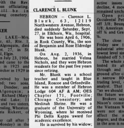 Clarnece Blunk Obit pg 1 from the Daily Sentinel, Woodstock, Illinois Sept 29 1969