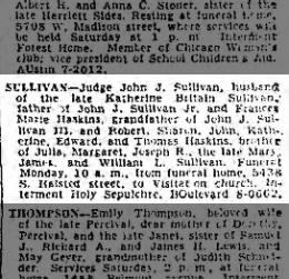 John J Sullivan Sr Obituary 02 Feb 1951 Chicago Tribune Chicago IL