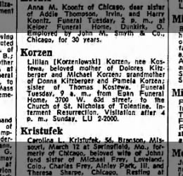 Lillian Korzen obit 13 Mar 1966