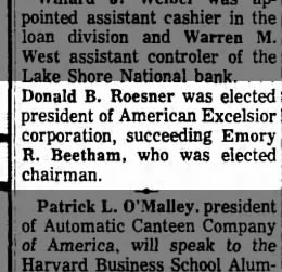 Donald elected President of American Excelsior