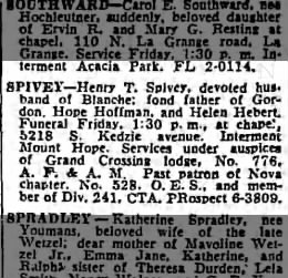 Death of Henry T Spivey  Chicago Tribune28 May 1959