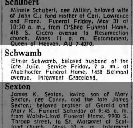 053063 Elmer Schwamb Death Notice ChgoTrib P22