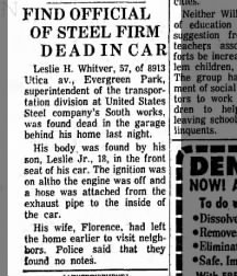 Leslie H. Whitver, found dead, 24 July 1961. Chicago Tribune article.