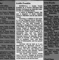 Elizabeth Goldia (Tweed) Franklin (Obituary)