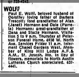 Paul E. Wolff obituary