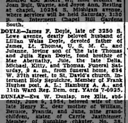 James F Doyle Obituary 10 Jun 1954
