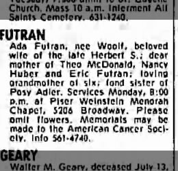 Ada Woolf Futran - Death Notice