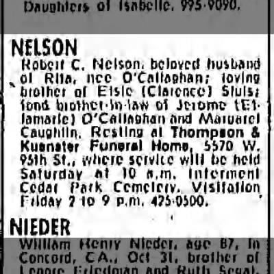 Rita's husband - NELSON Robcri C. Nelson, beloved husband ,ol...