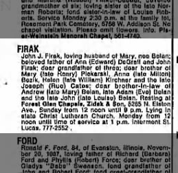 John J Firak's Obituary. Husband of Mary Belan.