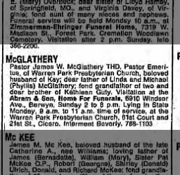 Obituary: Rev. James W. McGlathery