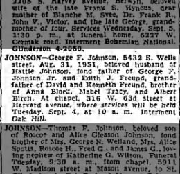 George Johnson death notice (Edith Freund's father)